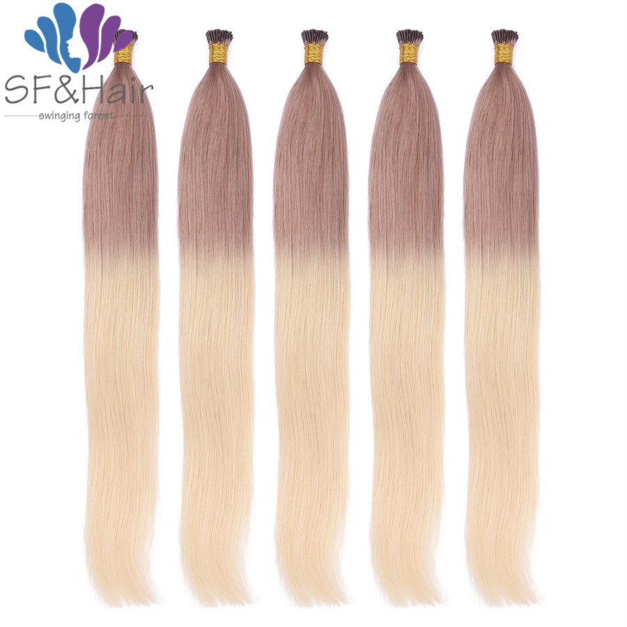 Keratian Hair Extension Ombre I Tip Hair Extensions Dark Brown Roots