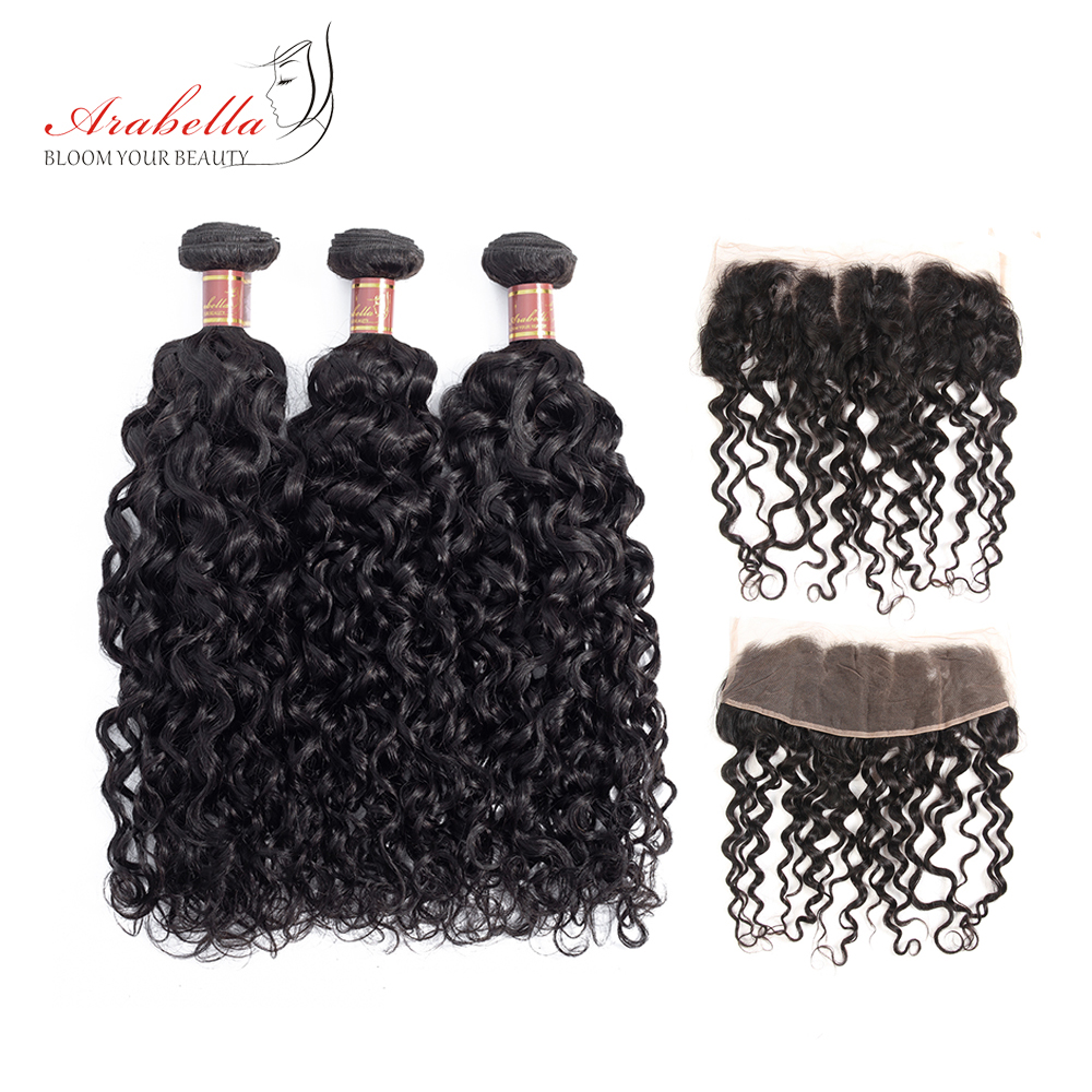 Arabella Peruvian Water Wave 3 Bundles With Lace Frontal Pre Plucked Natural Color Remy Hair Frontal