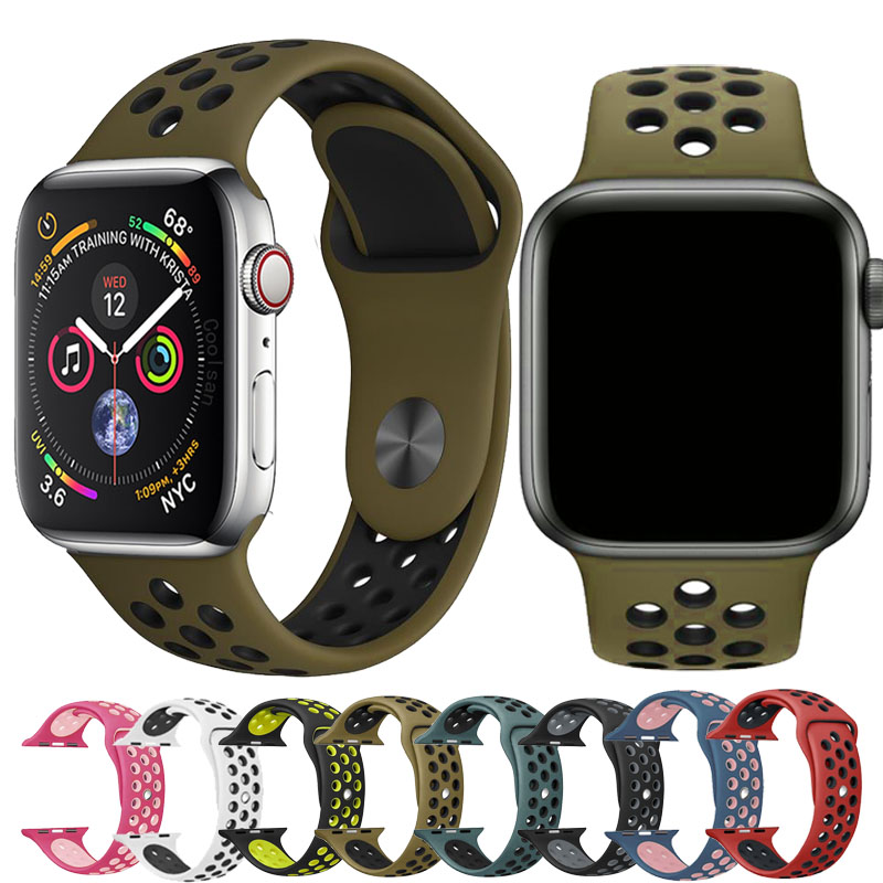 Silicone Strap For Apple Watch Band 42mm 38mm 44mm 40mm Bracelet Sport Apple Watch Strap Adapter Band For Iwatch 4&3&2 Wristband