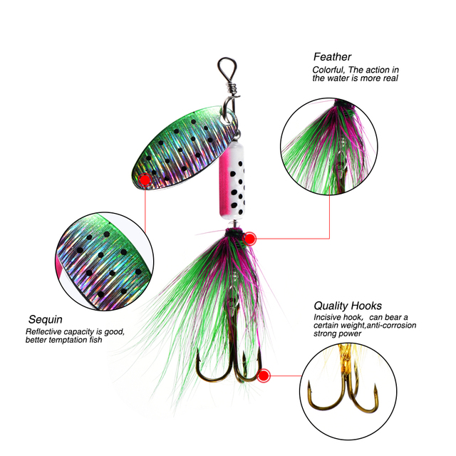Peche Spinner Fishing Lures Wobblers Feather Hooks.