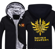 Japan Anime Monster Hunter X Kitchen Thick Fleece Mens Outwear Big Yards Cotton Hoodie Coat Jacket Parkas Warm