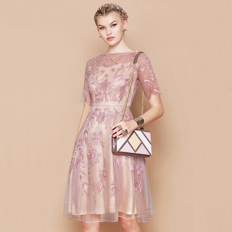 Luxury Women Embroidery Short Sleeve Vintage Mesh Knee Length Party Dress Blue Pink Kawaii Beaded Summer