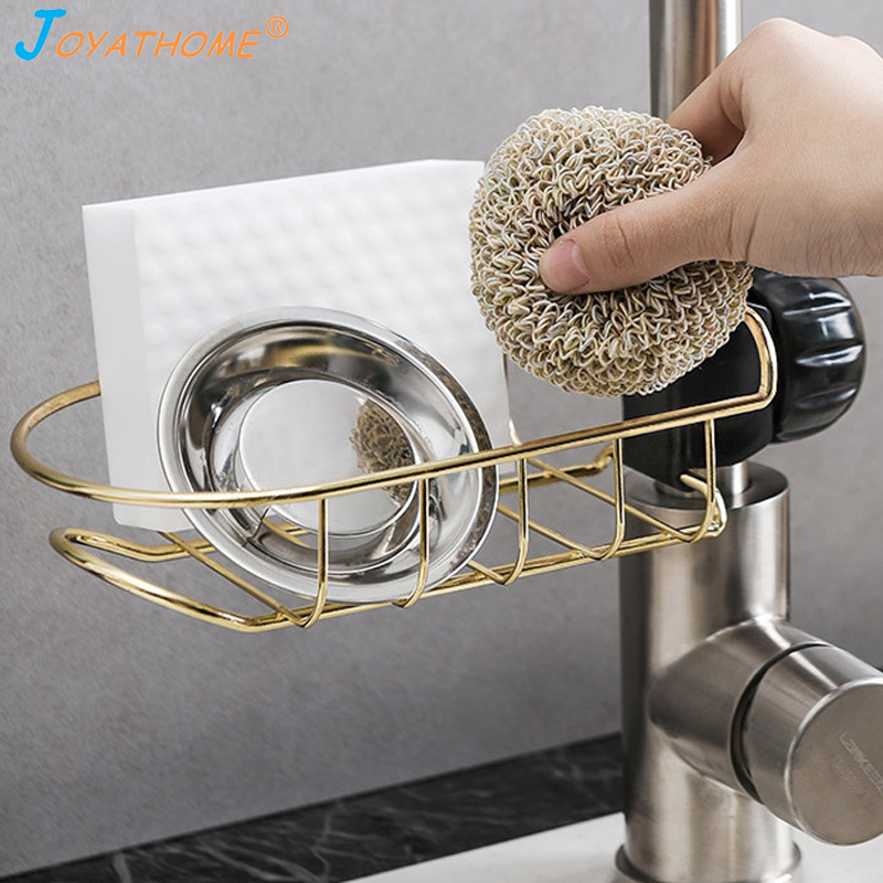 Image 2 - Joyathome Kitchen Stainless Steel Hanging Rack Sponge Drain Rack Sink Storage Hanging Holder Baskets Soap Sponge Drain Rack-in Racks & Holders from Home & Garden