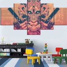 Top-Rated Framework  5 Pieces Modular HD Printing Canvas Painting Mask Samurai Type Poster Home Decorative Living Room Artwork