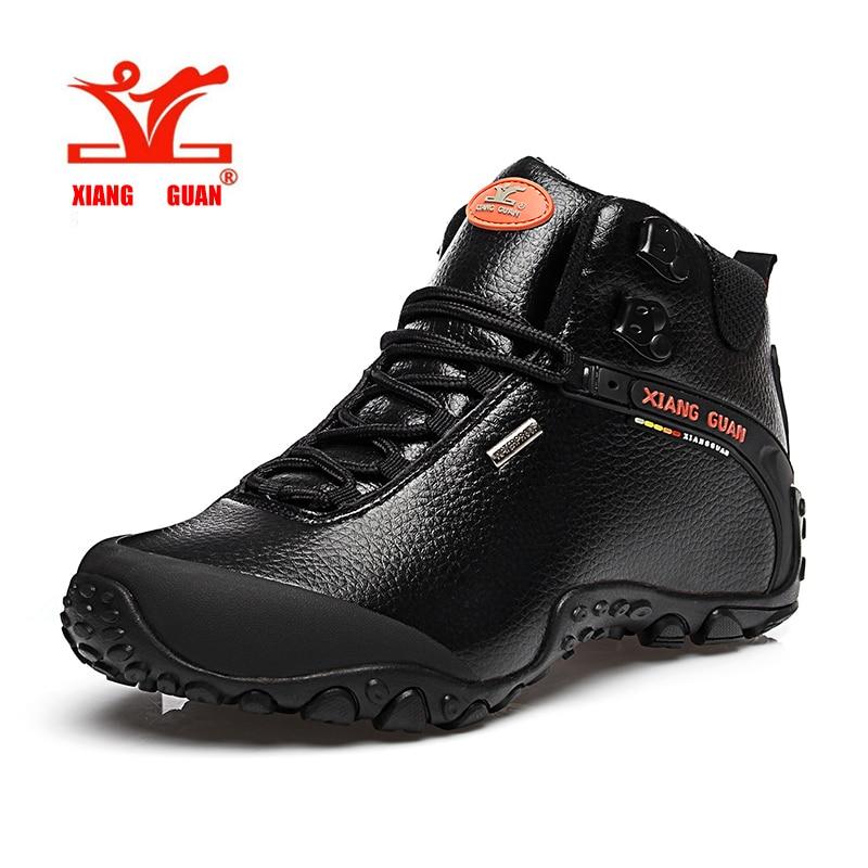 XIANGGUAN Mannen Camping Schoenen Lederen Wandelschoenen Hoge Vrouwen Klimmen Sneaker Duurzaam Outdoor Trekking Skid Slip Maat 36-45