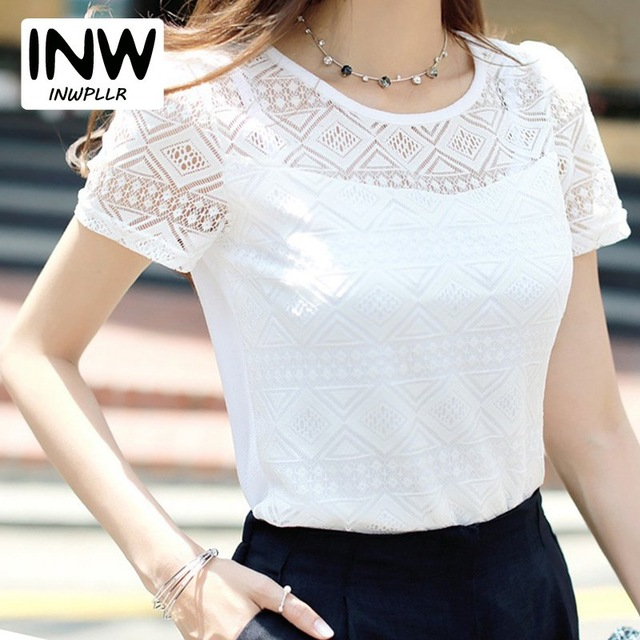 9e68775b6454e Women Lace Blouse Femme Tops Chiffon Shirt Summer 2019 White Short Sleeve Blusa  Feminina Hollow Women