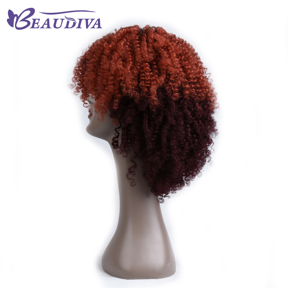 Beaudiva Pre-Colored Hair wig 150% Density Brazilian Curly Human Hair Wig Parting Remy Lace Front For Women