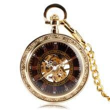 Винтажные часы унисекс с золотым скелетом ретро механические