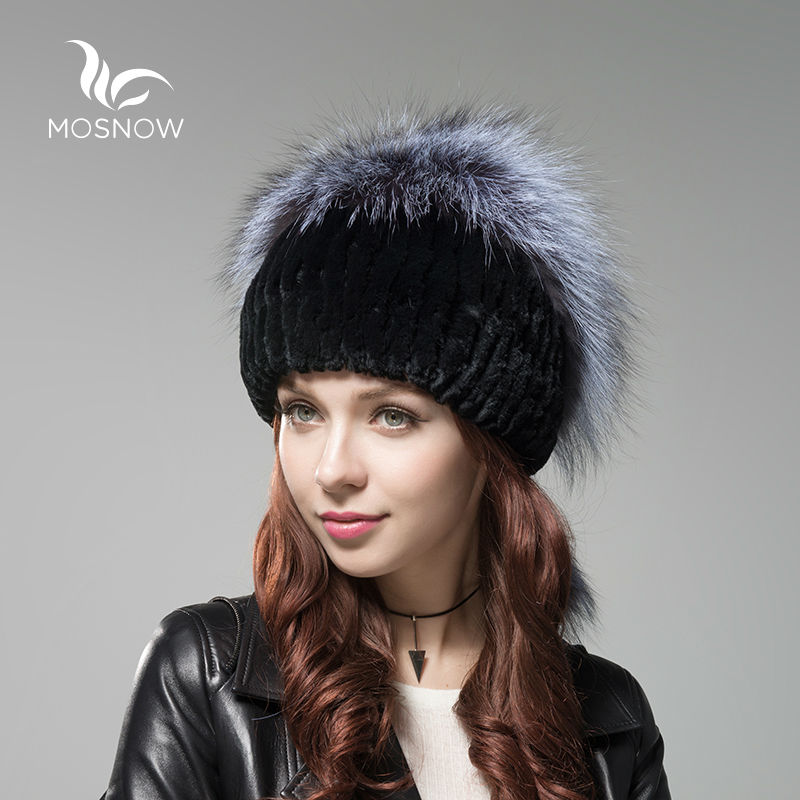 MOSNOW New Russian Fur Knitted Hat Female Winter Hats For Women Rex Rabbit Fur With Fox Pompons Stripe Luxury Skullies Beanies dbx 1074