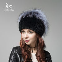 MOSNOW New Russian Fur Knitted Hat Female Winter Hats For Women Rex Rabbit Fur With Fox Pompons Stripe Luxury Skullies Beanies