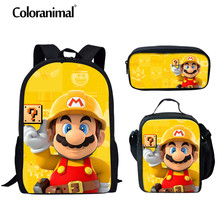 Coloranimal Japanese Anime /Super Mario Bros Girl Boy Schoolbag Children Bookbag 3D Print Kid Set Mochila Backpack Shoulder Bags