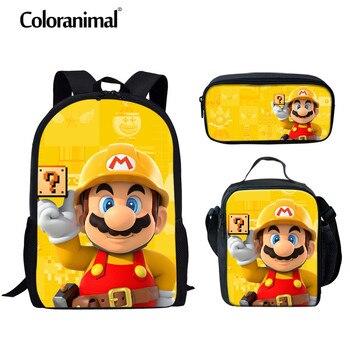 цена Coloranimal Japanese Anime /Super Mario Bros Girl Boy Schoolbag Children Bookbag 3D Print Kid Set Mochila Backpack Shoulder Bags онлайн в 2017 году