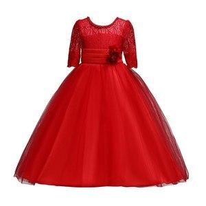 Image 2 - VOGUEON 王女のウェディング十代のドレス夏半袖フラワーガールのイブニングホワイトロングドレスレースパーティーエレガントなページェント Gala ガウン