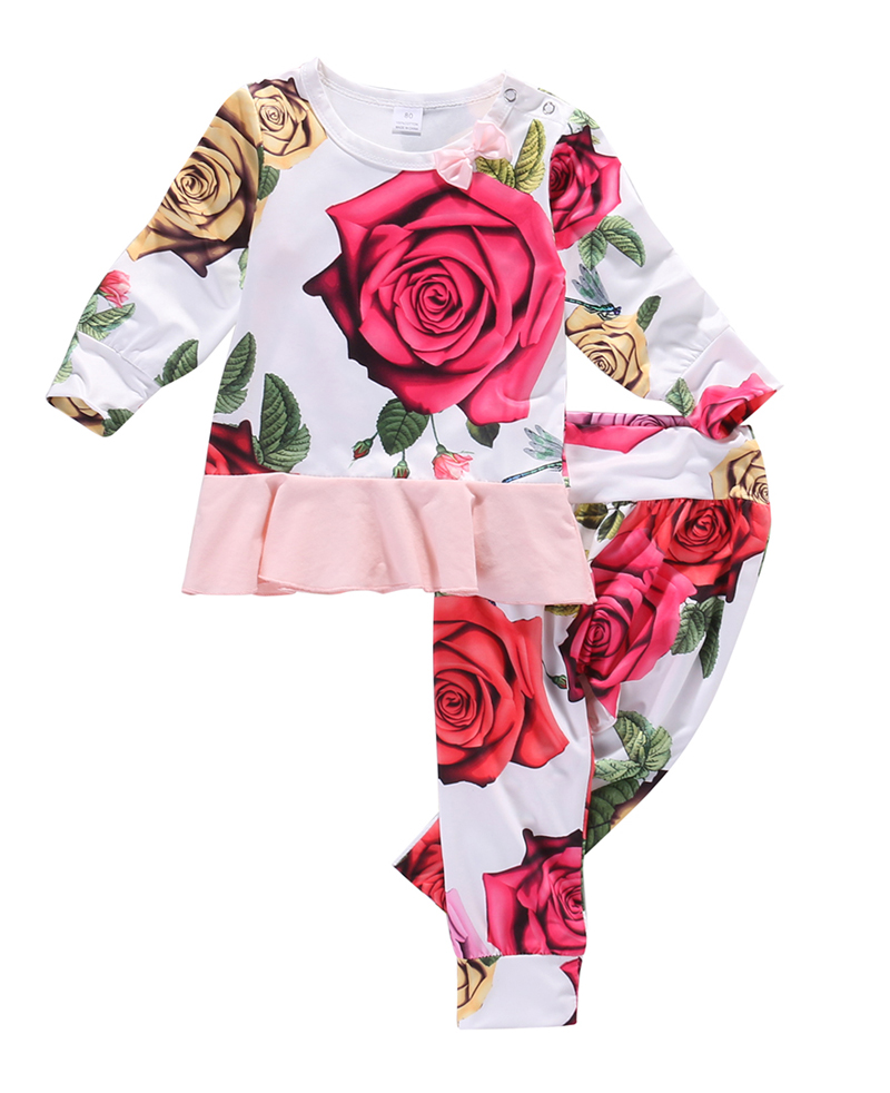 New Cute Newborn Baby Girl Clothes Long Sleeve Flower Tops T-shirt+Cotton Pants 2pcs Outfits Set