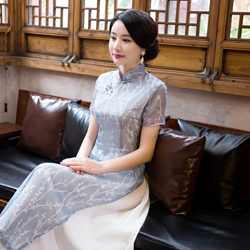 Hot Womens Clothing Top Quality Short Sleeve Cheongsam Chinese Hot