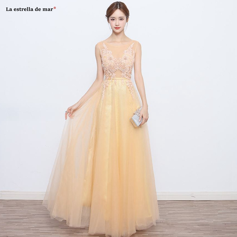 Brautjungfernkleid2019 new Scoop neck tulle crystal A Line light gold   bridesmaid     dress   long vestidos casamento convidados