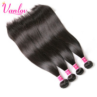 Vanlov Brazilian Virgin Hair 4 Bundles Hair Weave Bundles 100 Unprocessed Human Hair Wefts Products Natural