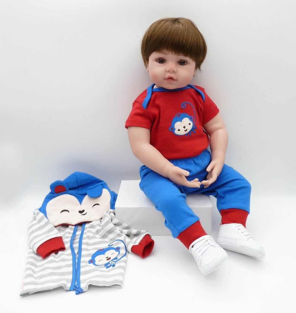 Npk 19 polegada 48cm realista macio pano boneca corpo reborn bonecas silicone macio boneca do bebê bonecas renascer natal presente de aniversário