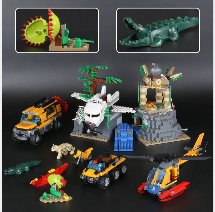 Lepin 02061 870pcs City New Series Exploration of Jungle Building Blocks Bricks Educational Model DIY toys for children 60161 sermoido 02012 774pcs city series deep sea exploration vessel children educational building blocks bricks toys model gift 60095