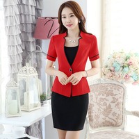 Summer Short Sleeve Professional Formal Uniform Style Business Work Suits Blazer And Dress Ladies Outfits For