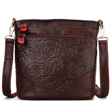 YILIAN Soft Genuine Leather Female bag embossing cowhide Shoulder retro middle-aged momma flowers 1002
