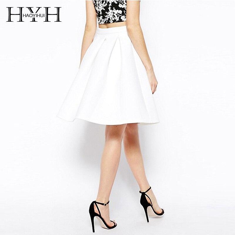 HYH HAOYIHUI Zipper White Women A-line High Waist Slim Basic Pleat Ladies Elegant Party Evening Midi Pleated Skirt Female