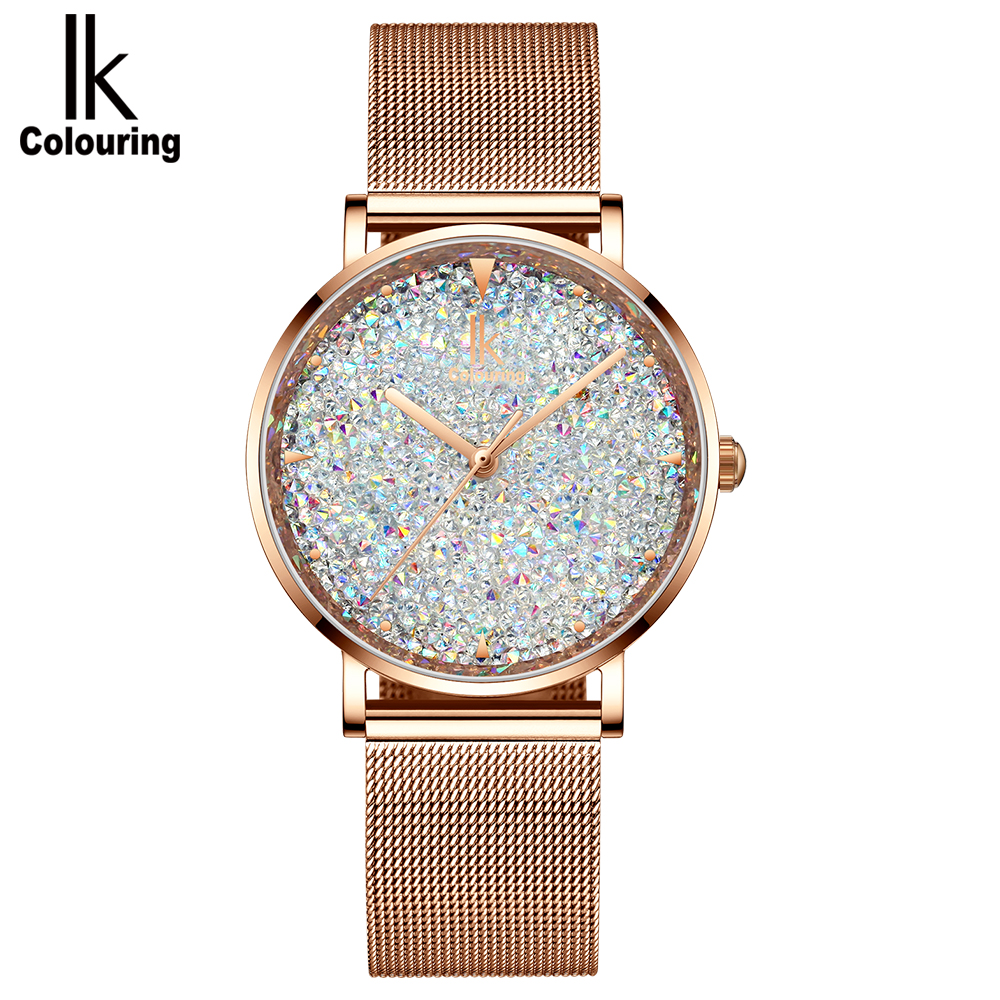 IK Colouring Women Quartz Watch, Rhinestone Starry Sky Dial Ladies Wrist Watches Mesh Band Watch New
