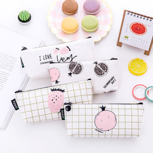 Cute fruit pencil case simple canvas pen box school stationery bag storage