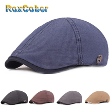 RoxCober Cotton Vintage Berets Newboy Cap Gatsby Hats Lvy Golf Driving Flat Caps for Mens Womens Peaky Blinder Boina Masculina