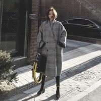Women Wool Coat Plaid Women Loose Long Double Breasted Woolen Coat Winter Coat Woolen Overcoat 2018 Coats