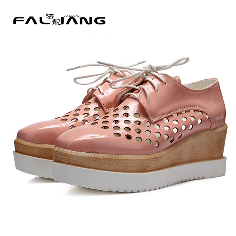 ФОТО 2017 Fashion women western style square toe cut-outs lace up wedges shoes large size 34-43
