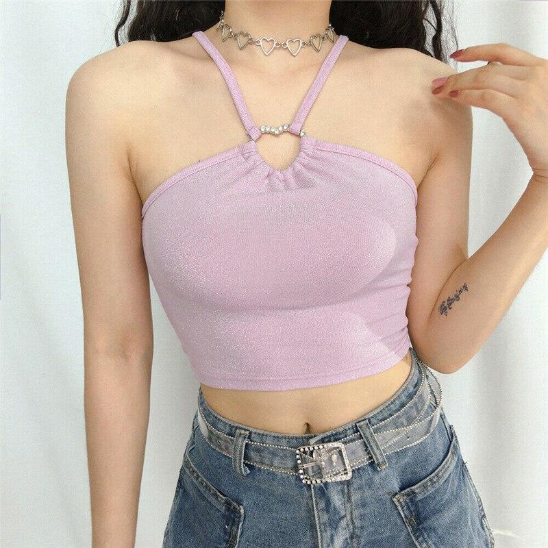 Summer 2019 Women Sequin Halter Neck Tanks Tops Fashion Strapless Solid Slim Crop Top Ladies Pink Camisole Female T Shirt Camis(China)
