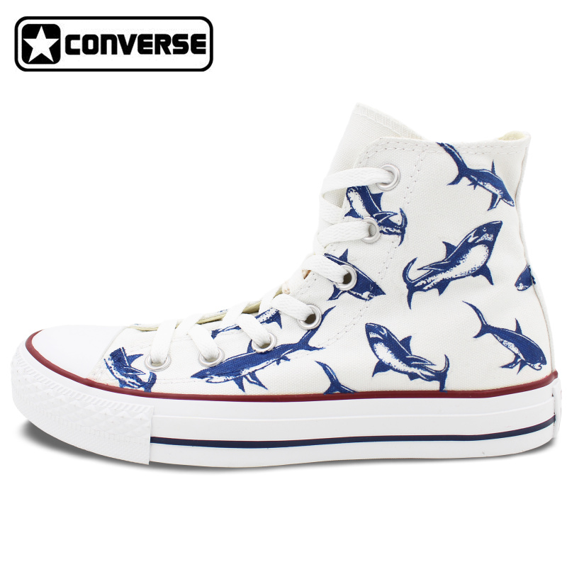 Women Men Converse All Star Man Woman Shoes Shark Original Design Hand Painted High Top Sneakers Boys Girls Christmas Gifts  classic original converse all star minim musical note design hand painted shoes man woman sneakers men women christmas gifts