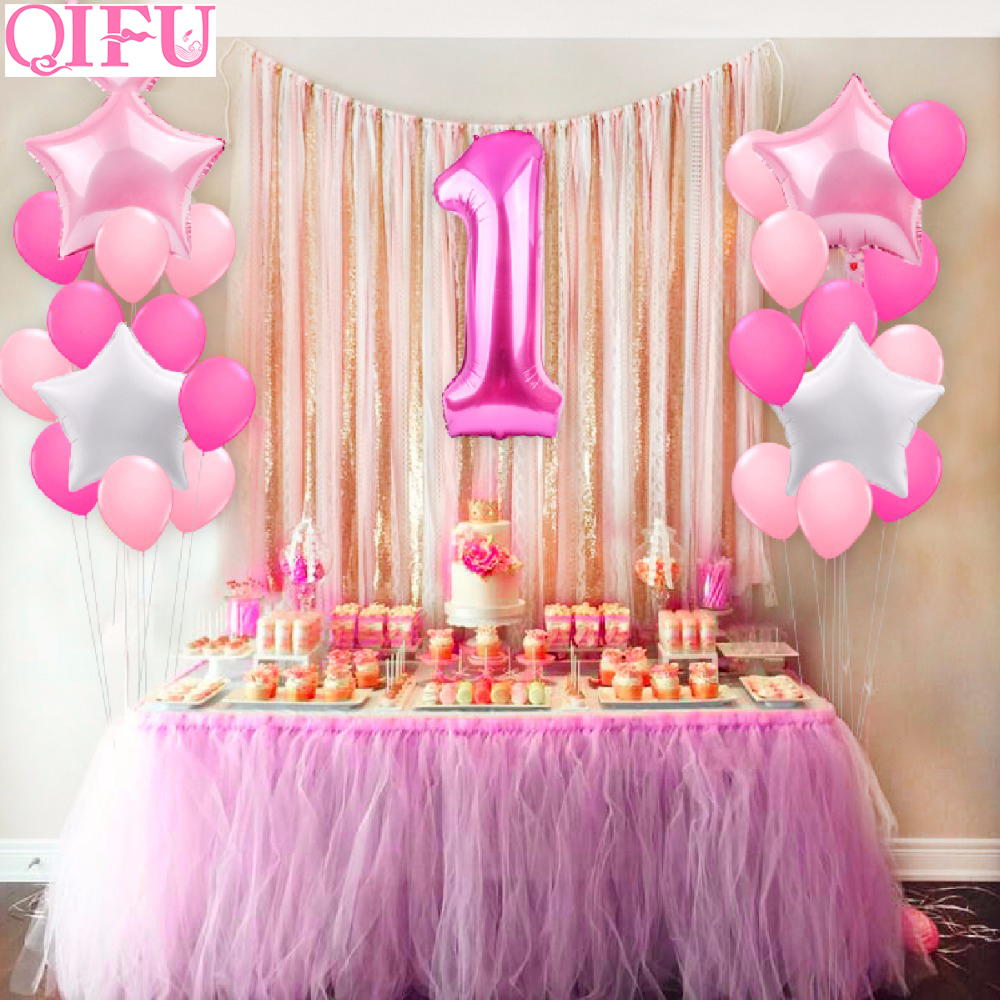 Qifu 25pcs One Year Old 1st Birthday Balloons Girl Baby First Birthday Decoration Blue Pink Foil Balloon For Kids Party Supplies Ballons Accessories Aliexpress