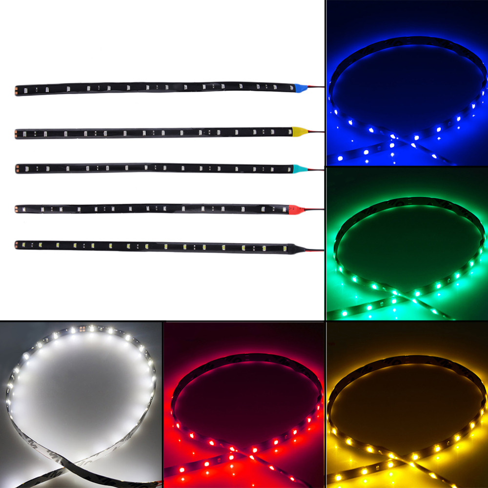 2pcs Free Shipping 30cm 15LED 12V Car Bike SMD Truck Flexible Waterproof Lights String Strip White/Red/Yellow/Green/Blue Color