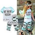 Roupa da criança Do Bebê Dos Miúdos Meninas T-shirt Roupas Tops + Calças Compridas 2 PCS Set