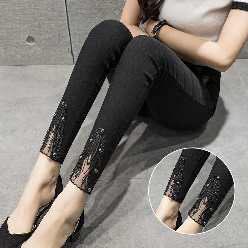 Women Pants Spring Summer 2019 Plus Size 3XL Black Skinny Slim Elastic Waist Pencil Pants Lace Patchwork Pants Capris F78