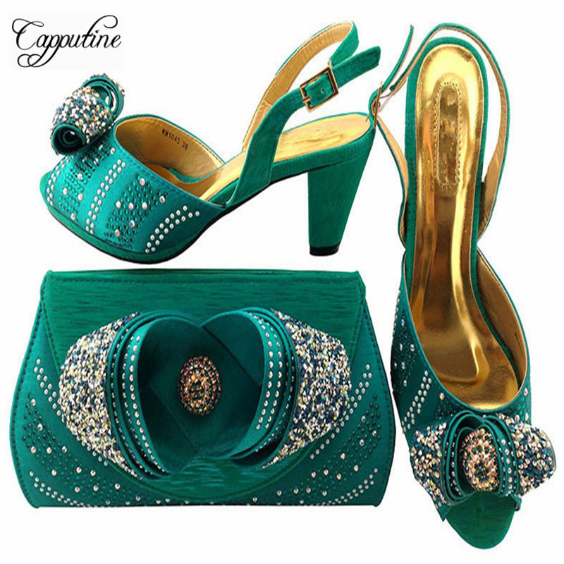 Capputine Italian Style High Heels Shoes And Bag Sets For Party African Pretty Middles Shoes And Purse Set For Party MM10452 italian visual phrase book
