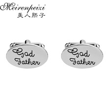 цена на 1 Pair Cufflink New Fashion Stylish Silver Plate Cuff Button For God Father Steampunk Cufflinks Men Suits Happiness Wedding Gift