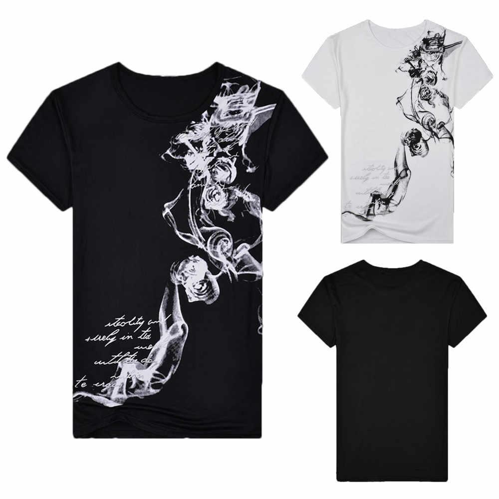2019 Gaya Baru Hot Sale Fashion Pria Musim Panas Kasual Slim Fit Dicetak Lengan Pendek T-shirt Pullover Top Blus Tinggi kualitas