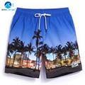 Пляж штаны мужчины быстро сухой большой код свободно пляжный отдых пейзаж печати плавать шорты