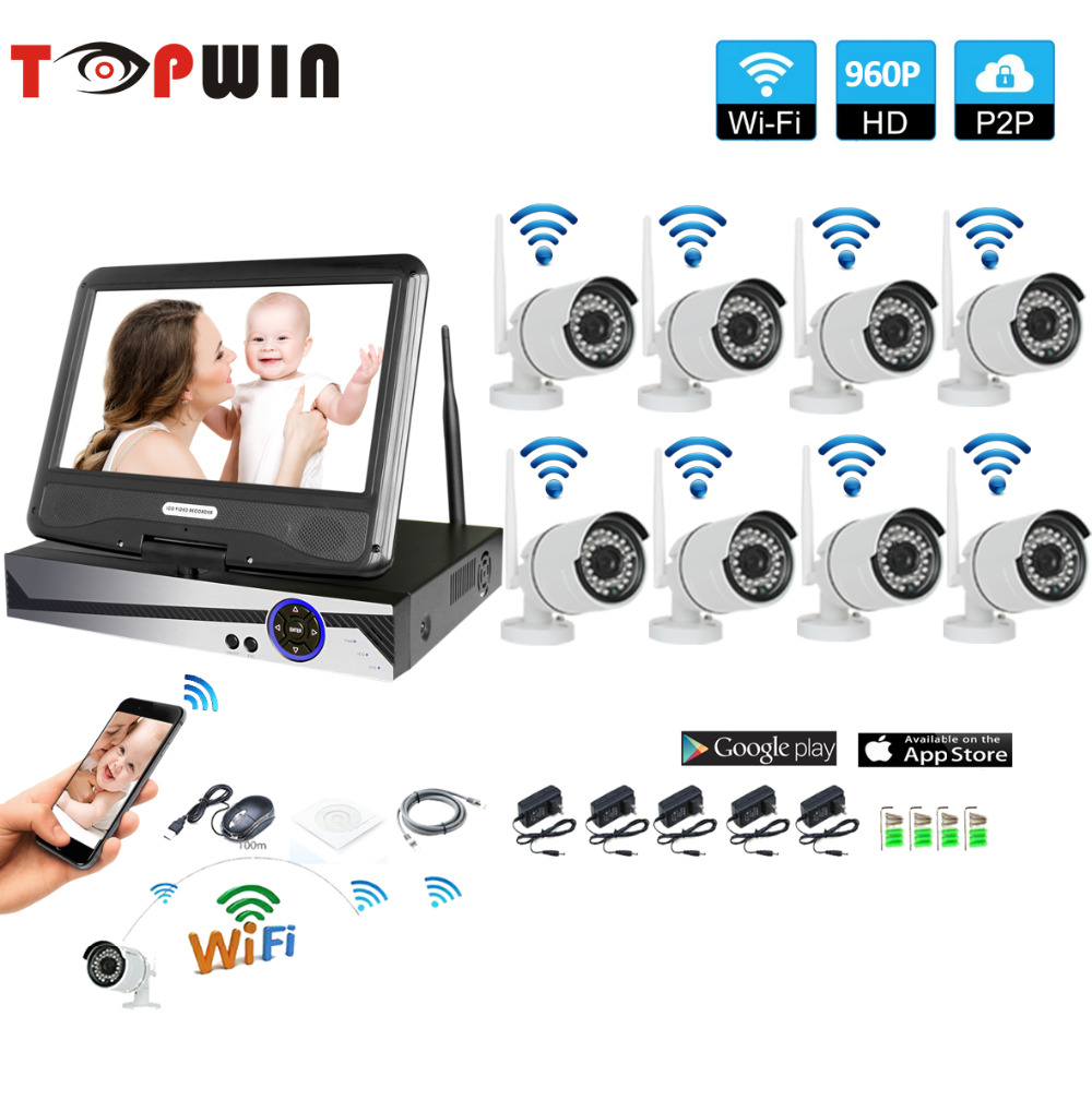 Wireless Surveillance System Network 10.1 LCD Monitor NVR Recorder Wifi Kit 8CH 960P HD Video Inputs 1.3MP Security Camera