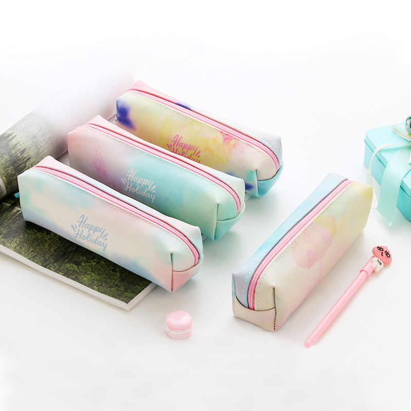 1Pcs Kawaii Pencil Case watercolor unicorn  Estuches School Pencil Box Pencilcase Pencil Bag School Supplies Stationery make up