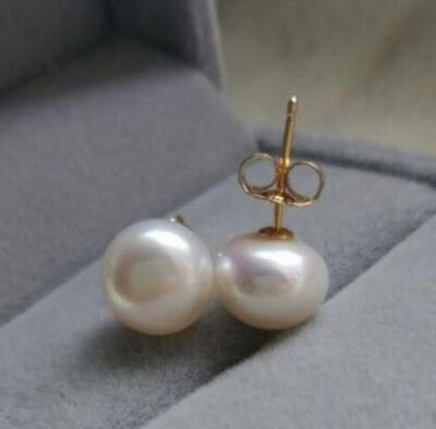 Natural GENUINE 14-13MM AAA+++ WHITE SOUTH SEA PEARL EARRING 925silver