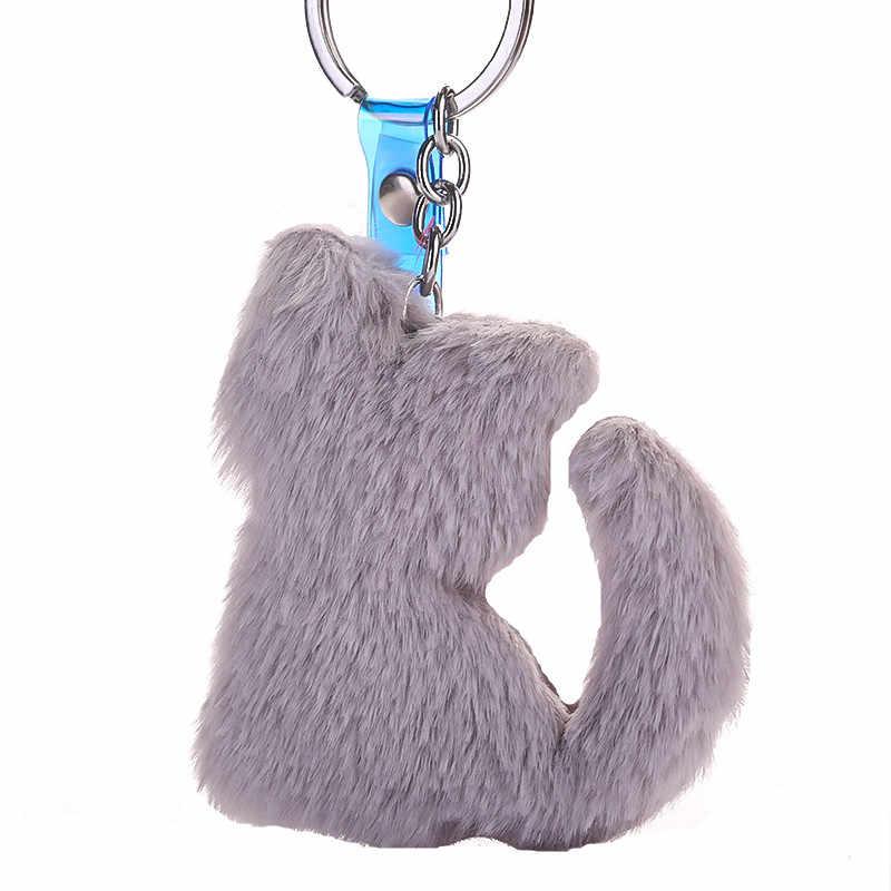 12 cores Pompom De Pele Falsa Forma Animal Bonito Chaveiro Gato Anel Chave Saco de Presentes para As Mulheres Llavero Chaveros Encantos Do Carro acessórios