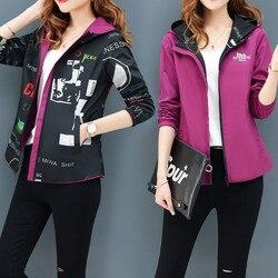 Streetwear bluza z kapturem drukowane kurtka kobiet i przyczynowy wiatrówka podstawowe kurtki 2019 nowy dwustronna z daszkiem zamki kurtka 4XL 6