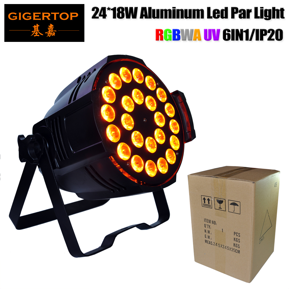 Gigertop Stage Lighting Led Par 24 18W 6 Color Blinder Light Stage Back Ground Projector Indoor Outdoor Disco Show Event TP-P66 show plaza light stage blinder auditoria light ww plus cw 2in1 cob lamp 200w spliced type for stage