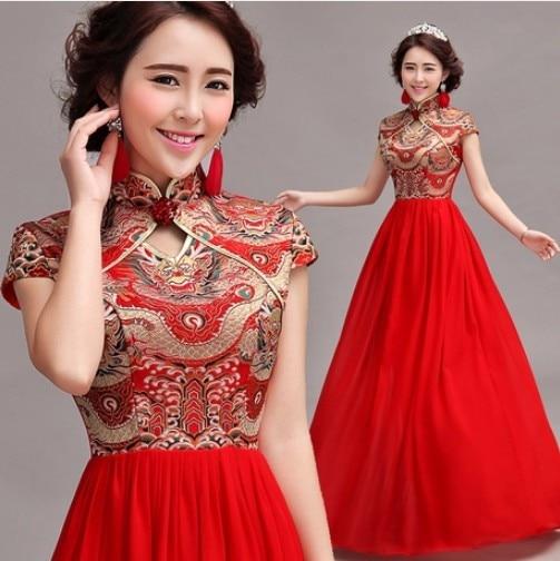 plus size chiffon Embroidery cheongsam dress 2015 chinese Celebrity ...
