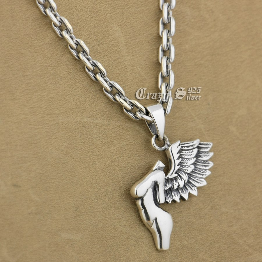 925 Sterling Silver Naked Wing Angel Fashion Pendant 9S116A 92.5% Sterling Silver Necklace 24 inches 925 sterling silver zircon pendant silver angel wings