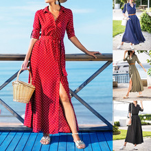 S-XL women autumn winter casual dot dress casual leisure brand long sleeve midi winter dress s xl women long sleeve turn down collar dress flroal print casual leisure dress autumn winter sashes loose brand dress